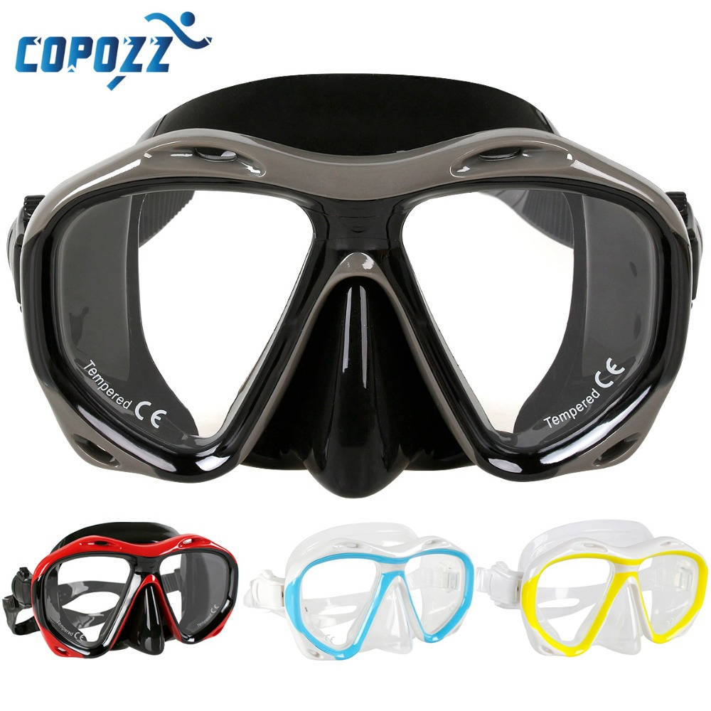 Copozz Brand Professional underwater hunting Diving Mask Scuba Free Diving Snorkeling Mask Flexible Silicone Large Frame glasses(China)