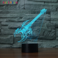 Guitar USB Lamp LED Children Night Lights Creative Colorful 3D Visual Desk Lamp Baby Gift Touch