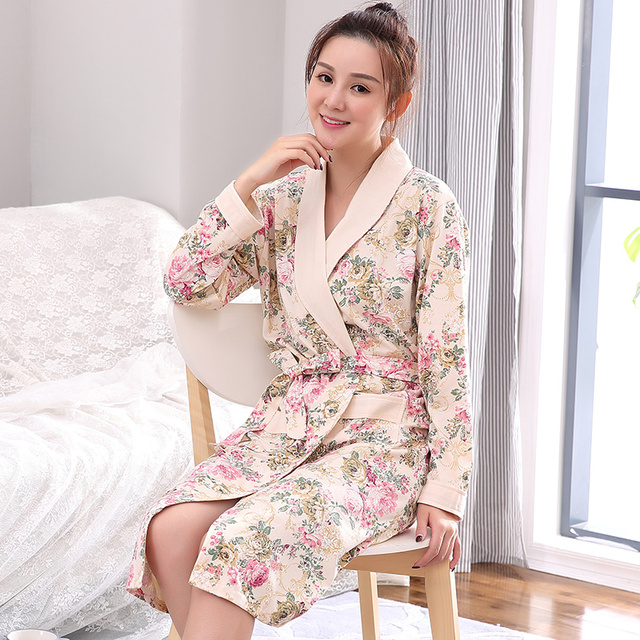 Brand Winter Floral Sleepwear for Women Elegant Bathrobe Nightgowns Women s  Robes Dressing Gowns Bathrobe Kimino Best for Gift 9b23a68c6