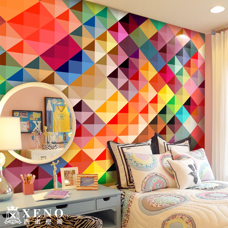 Abstract 3D Photo Mural Large Wall Art Wallpapers For Living Room Modern  Multicolor Plaid Custom( Part 93