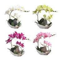 Çiçek + Vazo Yapay Orkide Ipek Kumaş Çiçek Ile Beyaz Mor Pembe Yeşil Bonsai Çiçek Yanlış Dağ Bonsai Vazo