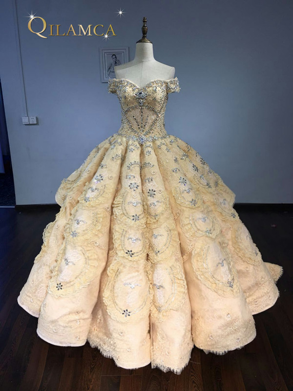 Real Photo High Quality Luxury Wedding Dresses 2018 Off the Shoulder Ball Gown Bridal Dress Lace