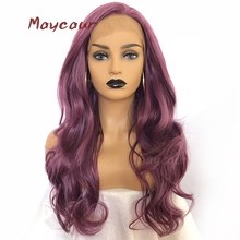 Purple Long Wavy Synthetic Lace Front Wig Free Part Natural