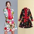 High Quality 100% Silk Women's Dress 2017 Spring Summer Printed Runway Female Full Sleeve Belt Vintage Casual Short Cute Dresses