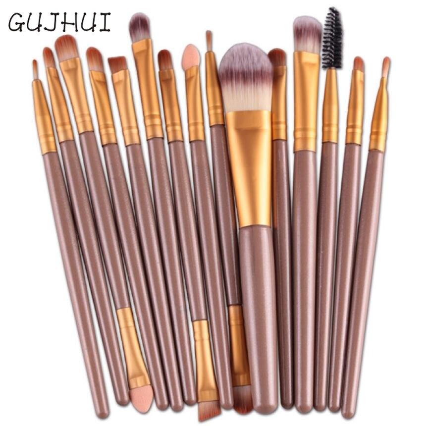 Beauty Girl 15 pcs/Sets Eye Shadow Foundation Eyebrow Brush Lip Brush Makeup Powder Foundation Brushes Tool Aug15