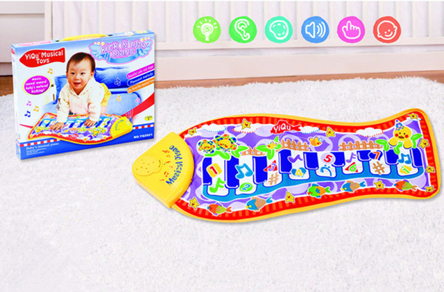 Delicate Music Sound Animal Kids Baby Play Mat Carpet Fish Touch piano music activity Play mat Gym Toy Help baby grow up gift