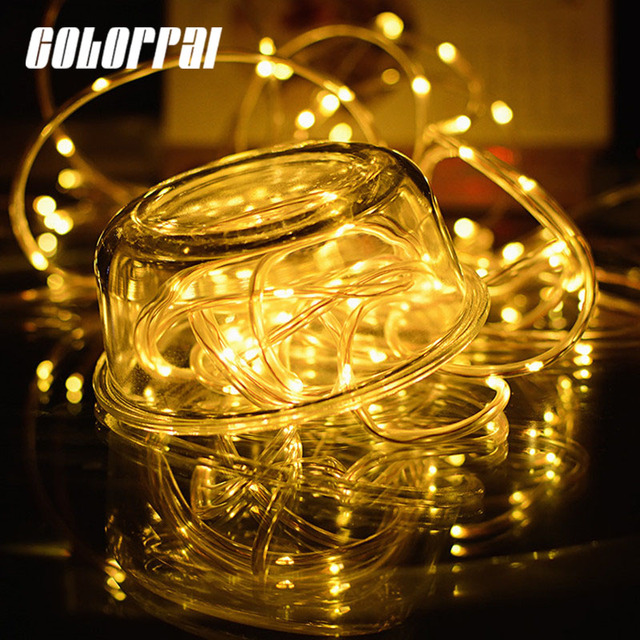 12M 100leds Solar LED String Lights Outdoor 4 Colors Rope Tube Led String  Solar Powered Fairy