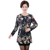 Middle Aged Women S Floral Blazer O Neck Long Sleeve Jackets Spring Office Lady Slim Fit