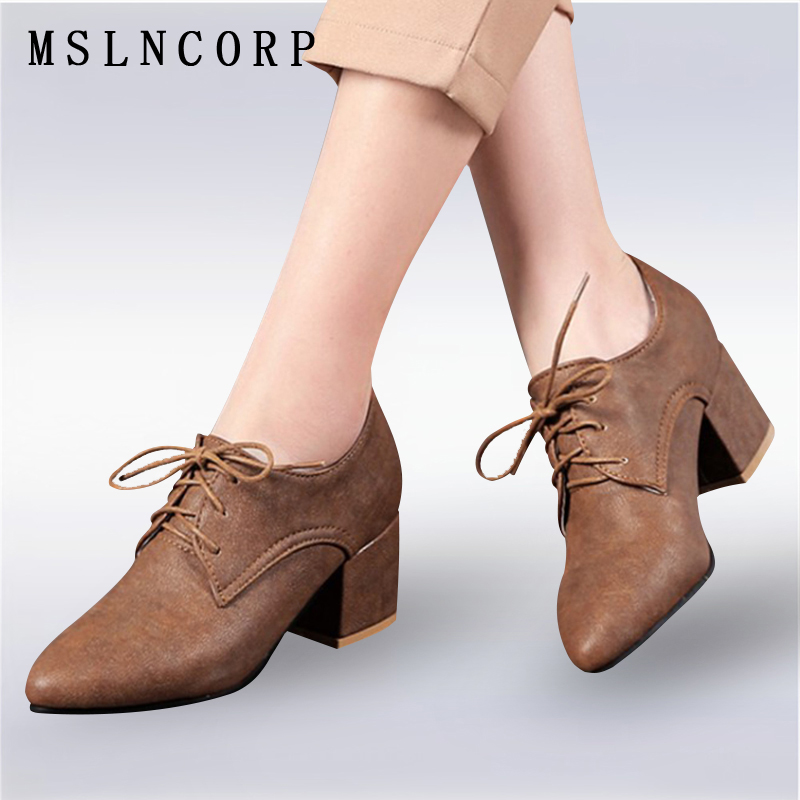 Plus Size 34-43 Fashion Spring Autumn Women Pumps Elegant Pointed Toe Office Lady Woman Shoes square heel lace up Oxfords Shoes xiaying smile new spring autumn women pumps british style fashion casual lace shoes square heel pointed toe canvas rubber shoes
