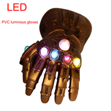 цены Avengers Infinity War Thanos Infinity  LED  Gauntlet Cosplay Gloves PVC Action Figure Model Doll Toys Gift Halloween Accessories