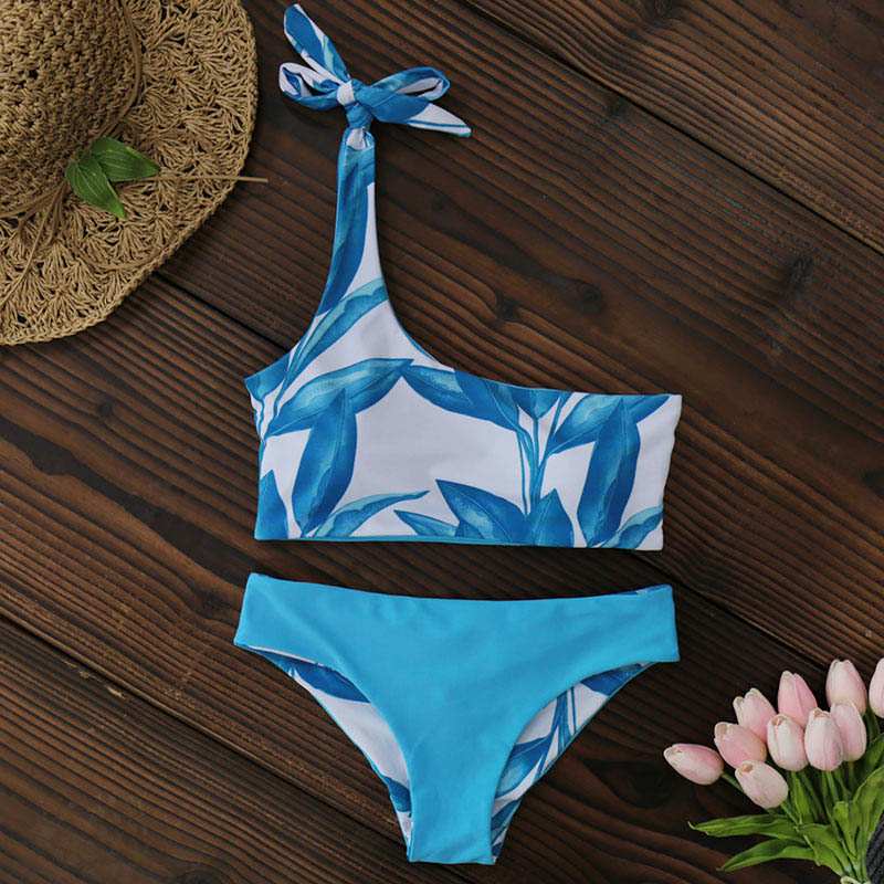 New One Shoulder Leaves Print Bikini 13