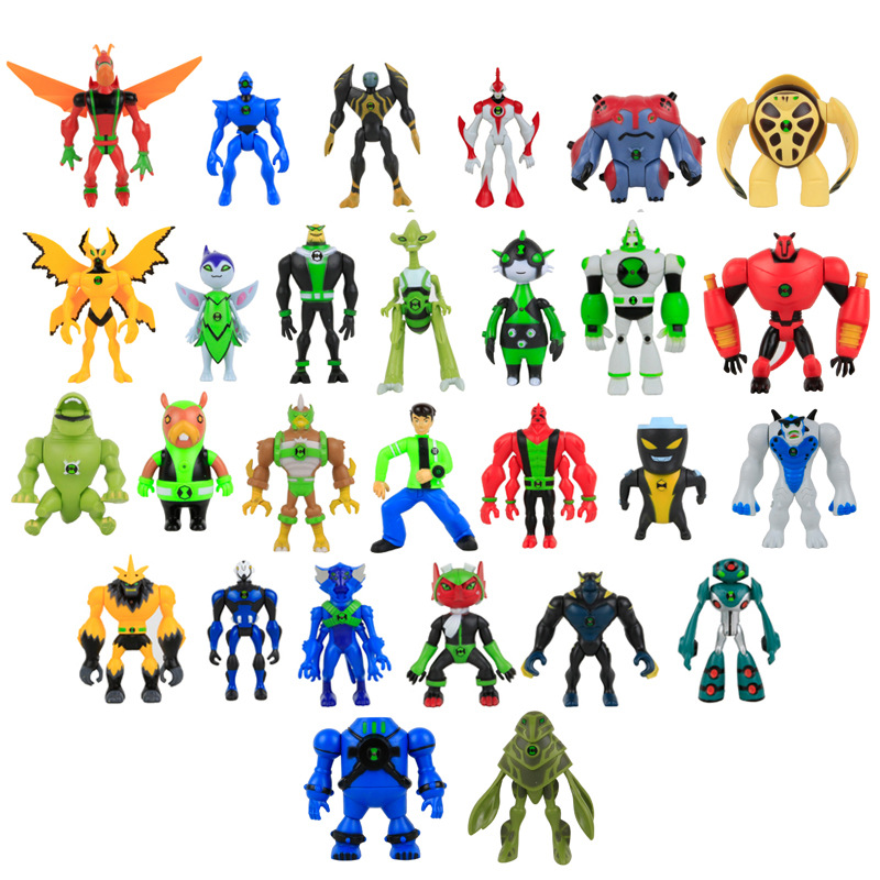 7pcs/set Ben 10 Ben Tennyson Four Arms Grey Matter Kineceleran Diamondhead Heatblast PVC Action Figures Toys For Children Gifts