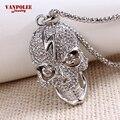 Venda quente Da Moda Cabeça Do Crânio Pingente Colar Colares de Personalidade Esqueleto Cabeça Fantasma Relâmpago Completa Cristal Bijoux Jóias