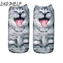 "ZXDJHELF Girl Sox Female 3D Fashion Printing Women Socks Unisex""CRY CAT""Pattern Meias Cute Ladies Funny Low Ankle Hosiery S01513"