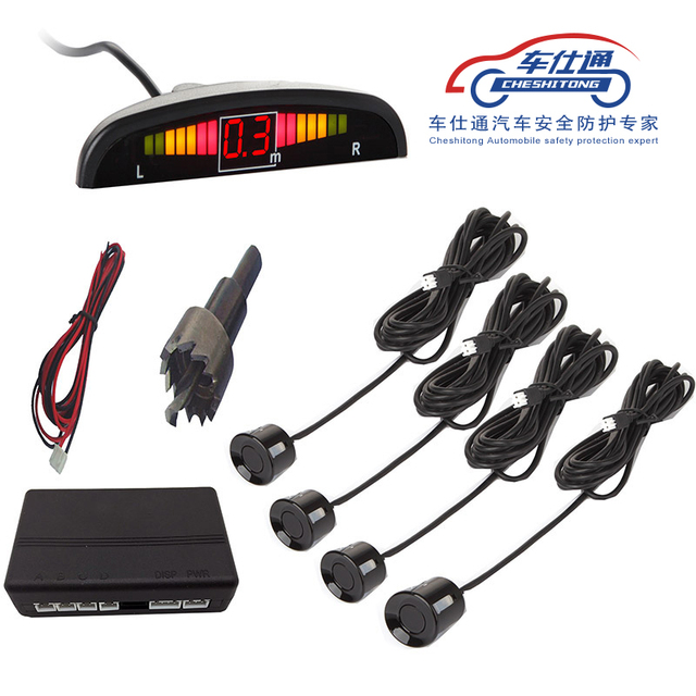 7 colors  sensor  1Set Car LED Parking Sensor Kit Display 4 Sensors for all cars Reverse Assistance Backup Radar Monitor System