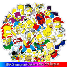 50 pcs/Lot drôle Anime bande dessinée Simpsons Graffiti autocollants pour Moto voiture et valise Cool autocollants pour ordinateurs portables Skateboard enfants autocollants(China)