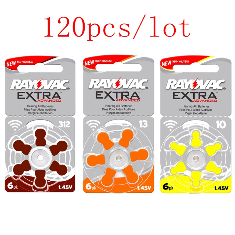 120Pcs/Lot RAYOVAC EXTRA Hearing Aid Batteries A13 13a PR48 ZA13 a312 312a PR41 ZA312 a10 10a PR70 ZA10 Zinc Air Battery стоимость