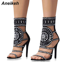 Aneikeh sandalias de gladiador de diamantes de imitación de Punta abierta Sandalias de tacón alto de cristal tobillo envolver diamante gladiador zapatos de mujer negro tamaño 4- 9