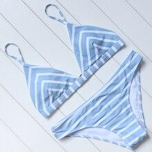 Bikini Striped Bikini Set 2018 Women Sexy Push Up Swimsuit Low Waist Swimwear Halter Bandage Swimming Suit Summer Bathing Suit