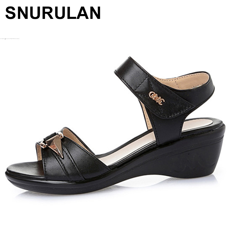 SNURULAN2018 Genuine Leather Women Sandals, Comfortable Lightweight Summer Middle-aged Sandals, Fish Mouth Plus Size 41-43E561