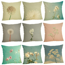 FOURETAW 1 Piece Chic Dandelion Pattern Pillow Case Cover Square 45cm Cotton Pillowcase Home Decorative Customized Dropshipping