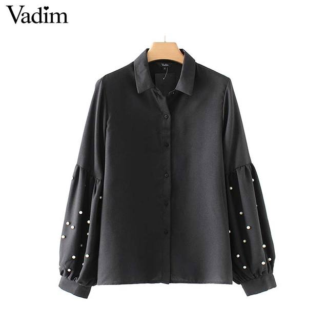 Vadim vintage pearls beading black shirts lantern loose fitting sleeve chic turn down collar blouse casual tops blusas LT2402