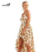 ATOFUL 2018 Nova Boho Praia Férias Vestido Longo Sleeveles Chiffon Estampado Floral Vestido Sling Sexy Mulheres Vestidos Maxi Vestidos Soltos
