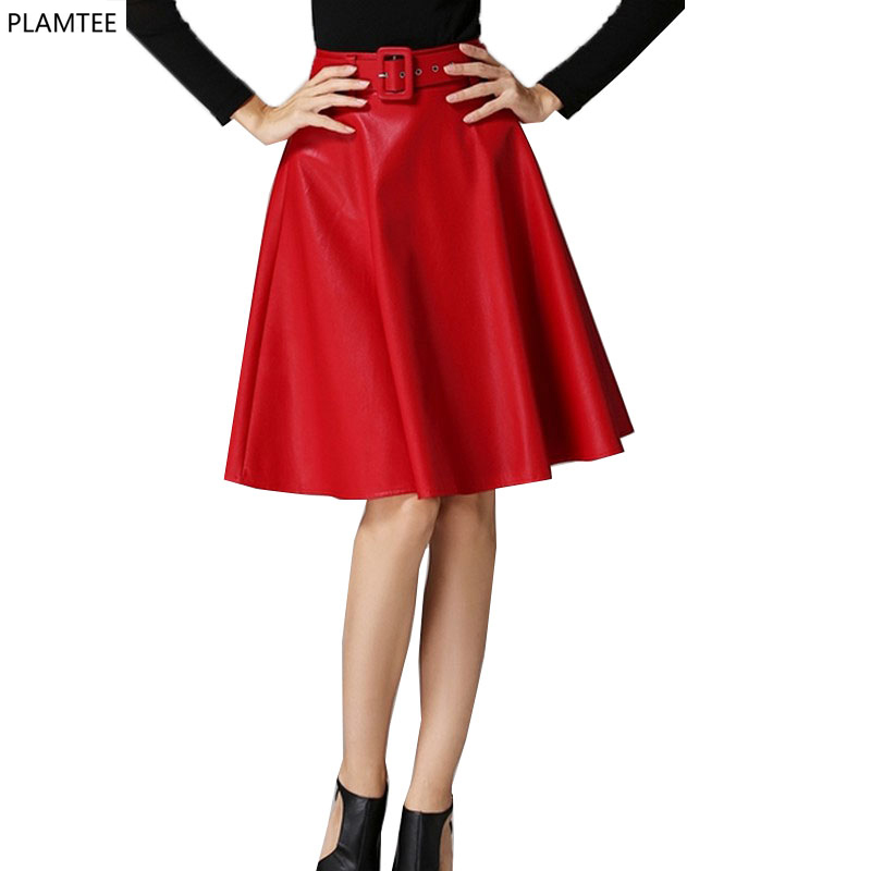 Solid Red Leather Skirt 2017 New Fashion Pleated Skirt 3 Colors Tutu Skirts Womens Knee length ...