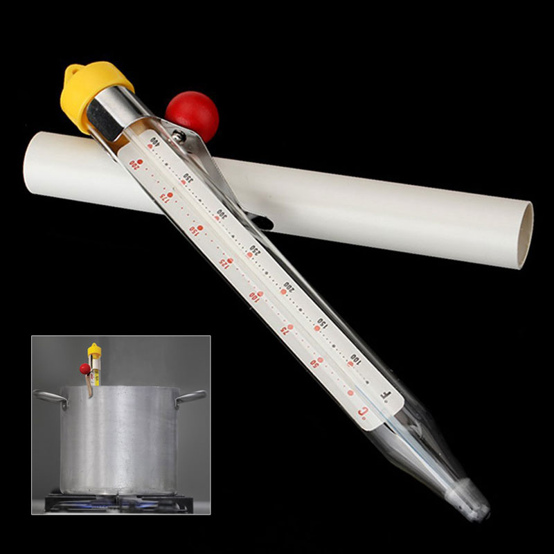 Mercury Free Food Thermometer with Adjustable Pan Clip and Safety Cap including Protective Storage Sleeves and 200 Degree Celsius Temperature Range