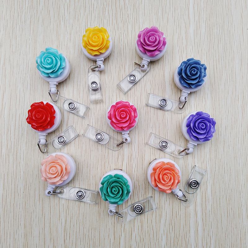 1PCS Pretty Resin Rose Flower Nurse Student Retractable Badge Reel For ID Card Badge Holder 2019 Hospital Office School Supplies