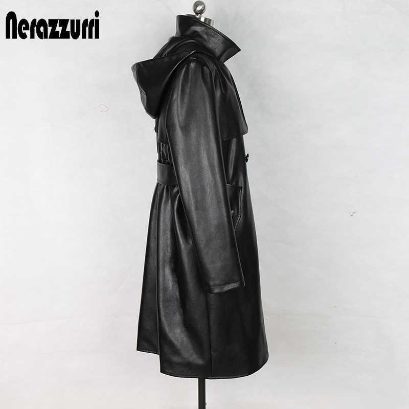 Nerazzurri modny trencz dla kobiet plus rozmiar czarny plisowana z długim rękawem z kapturem jesień faux skórzana kurtka kobiety 5xl 6xl 7xl