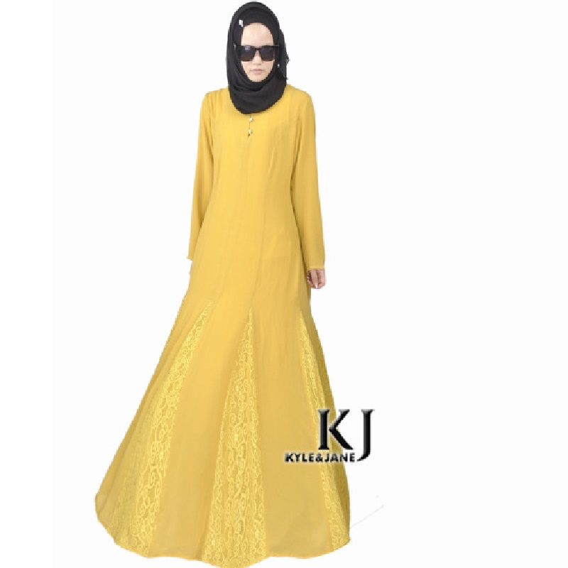 2015 Fashion Muslim Dress Brushed Linen Yellow Abaya In Dubai Traditional Islamic Clothing Maxi Long Jilbabs Wear to Work Abaya