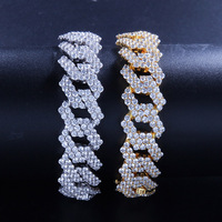 Full Zircon Bling Iced Out Miami Men's Bracelet Geometric Copper Bracelets for Men Hip Hop Jewelry Gold Silver