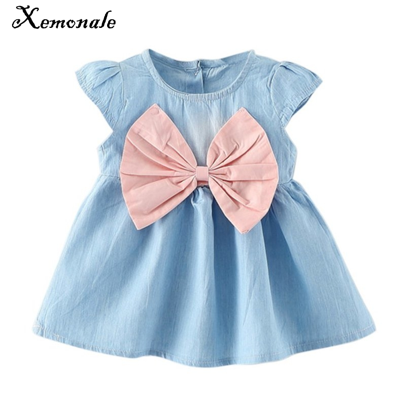 2017 new design style baby mini children summer wear short sleeved dress fashion party baby toddler girl pure Minnie cuff