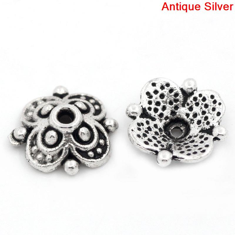 Zinc Metal Alloy Beads Caps Flower Antique Silver(Fits 12mm-14mm Beads)Pattern Pattern 10mm X 10mm ,20 PCs New