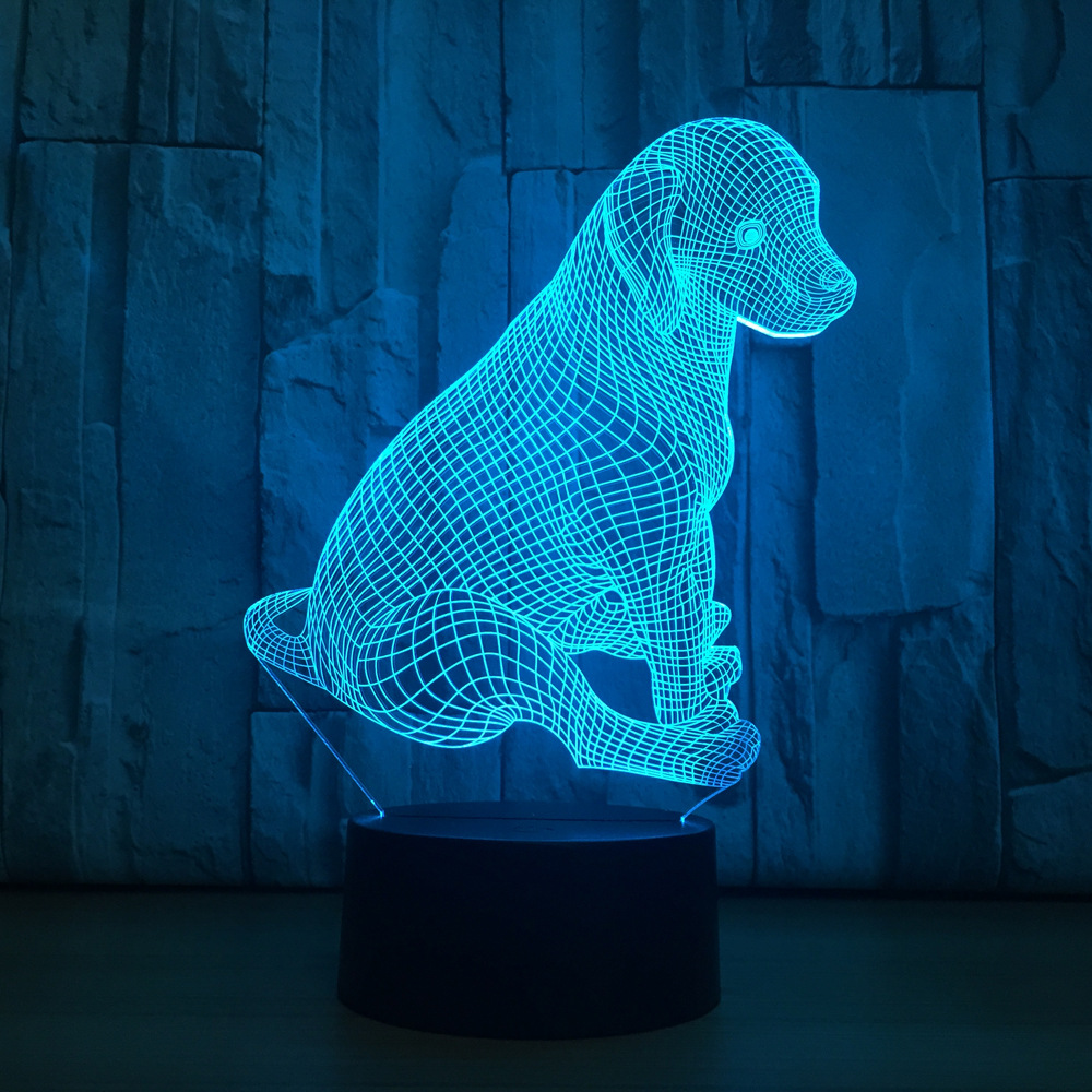 Cute Labrador Dog Lamp 3D Night Light Kids Toy LED 3D Touch Table Lamp 7 Colors Flashing LED Light Christmas Decoration lediary cute dinosaur led night light 3 colors decoration lamp warm white christmas night lights animal bedside lamp for kids