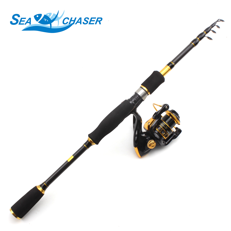 1.8 3.6m Spinning rod Telescopic Rod and 12BB Reel Set and Fishing Rod of 99% Carbon lure fishing Combo De Pesca Free shipping-in Fishing Rods from Sports & Entertainment