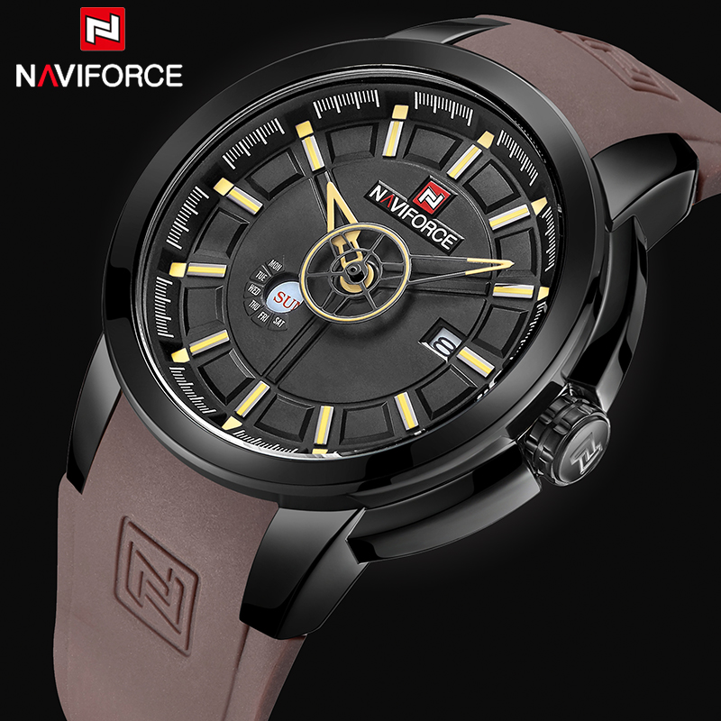 Watches Men NAVIFORCE Brand Fashion Sport Quartz Wrist Watch Men's Military Date Analog Waterproof Clock Relogio Masculino 9107 naviforce men silicone band wristwatches waterproof quartz analog display date day week wrist watch fashion casual watches 9107