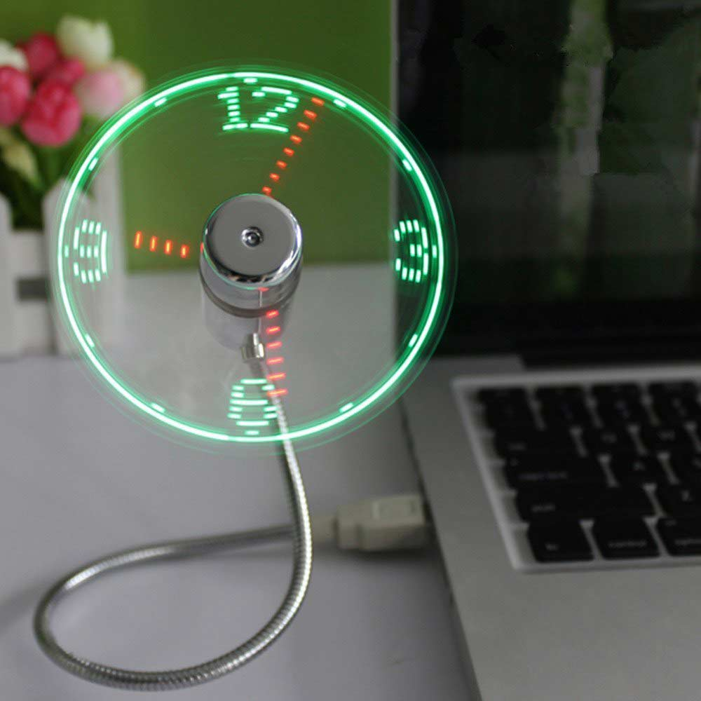 Ingelon mini usb fan LED Clock Cool Colorful or Temperature Display Fan Adjustable USB Gadget for PC power bank LED USB Fan (6)