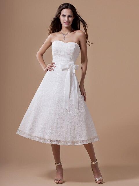 Vintage Short té de longitud de encaje vestidos blanco recepción ...
