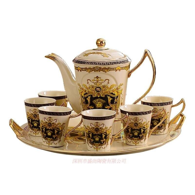 Позолоченные Кофейные Наборы чашек костяного фарфора/8 шт чайных чашек керамические. 1 чайник и 6 чашек