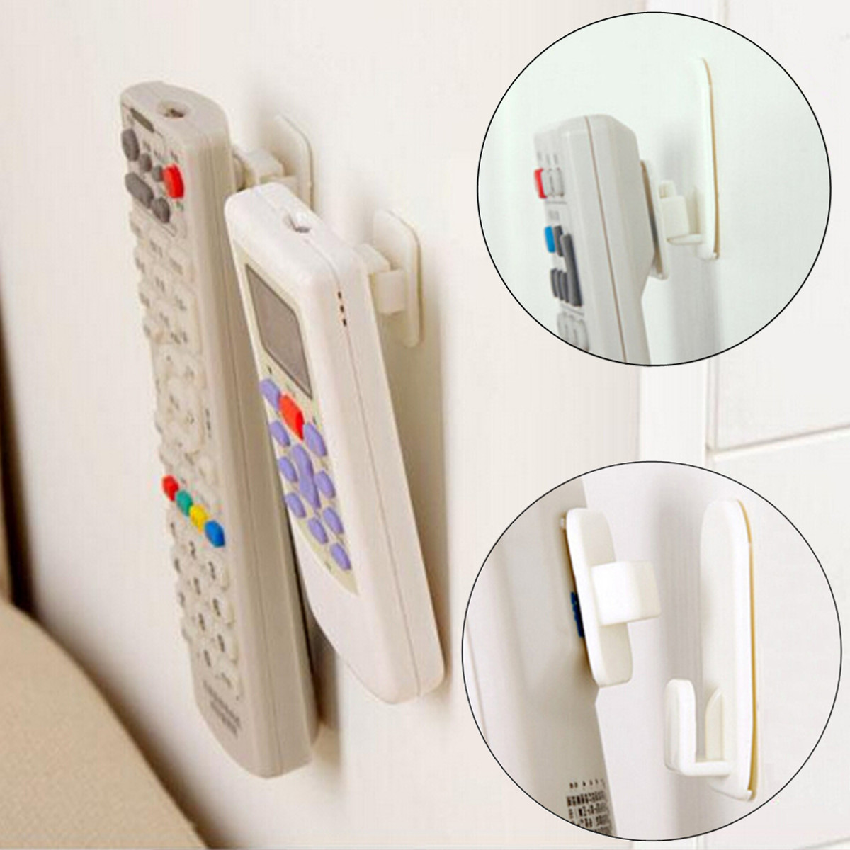 1Package(4Pcs) Sticky Hook Set TV Air Conditioner Remote Control Key Practical Wall Storage Plastic Hooks Holder Strong Hanger
