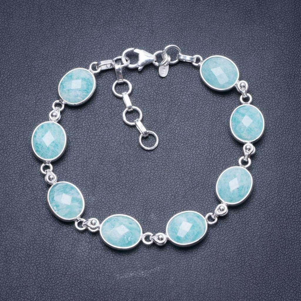 Natural Amazonite Handmade Unique 925 Sterling Silver Bracelet 7 1/4-8 1/4