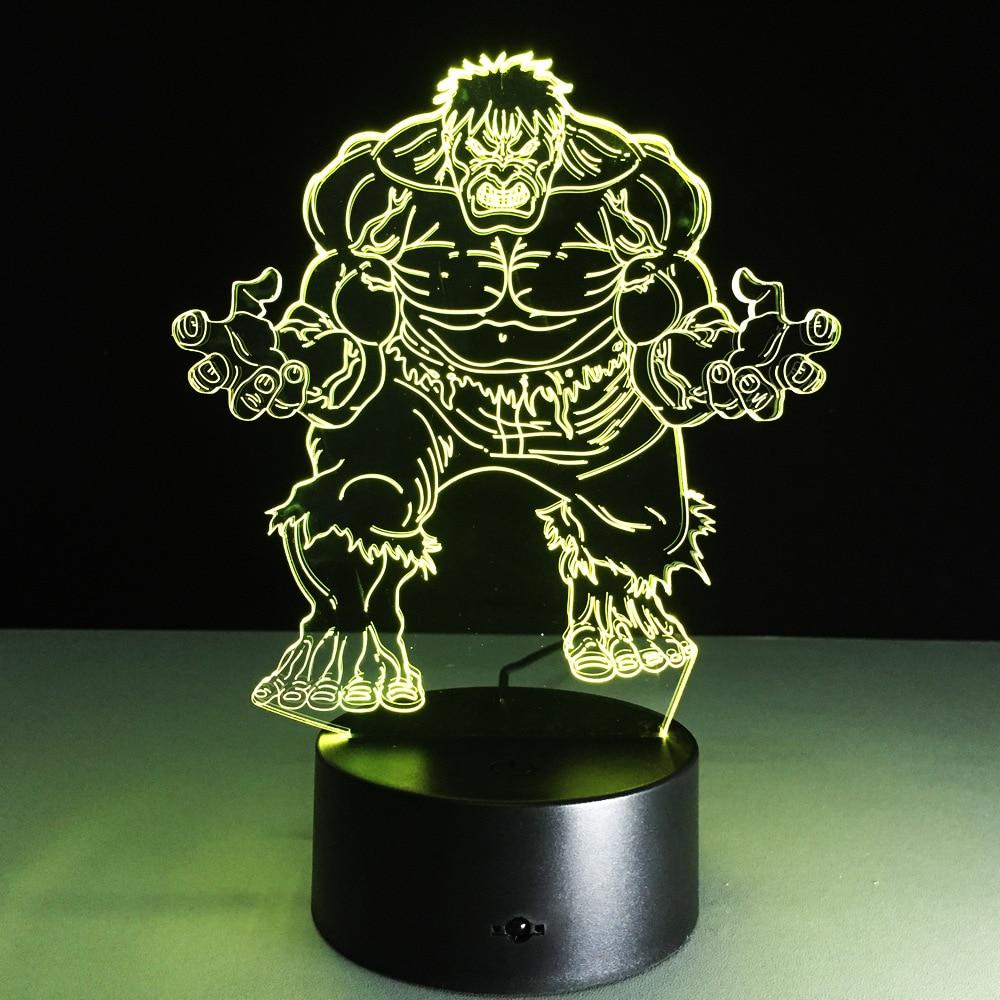 Utrolig Hulk 3D Led Nattlys Farverig Akryl Avengers USB LED Bordlampe Creative Hulk Action Figur Belysning Legetøj