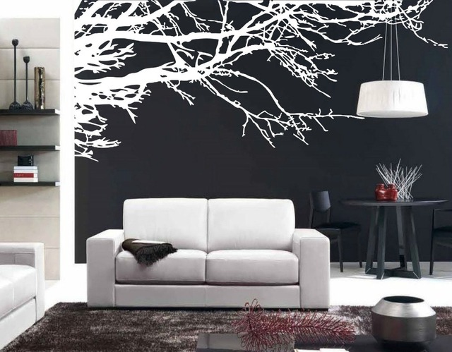 Mega Stunning Tree Branch Removable Wall Art Stickers Vinyl Mural Home Decor  Black White Tree Chinese