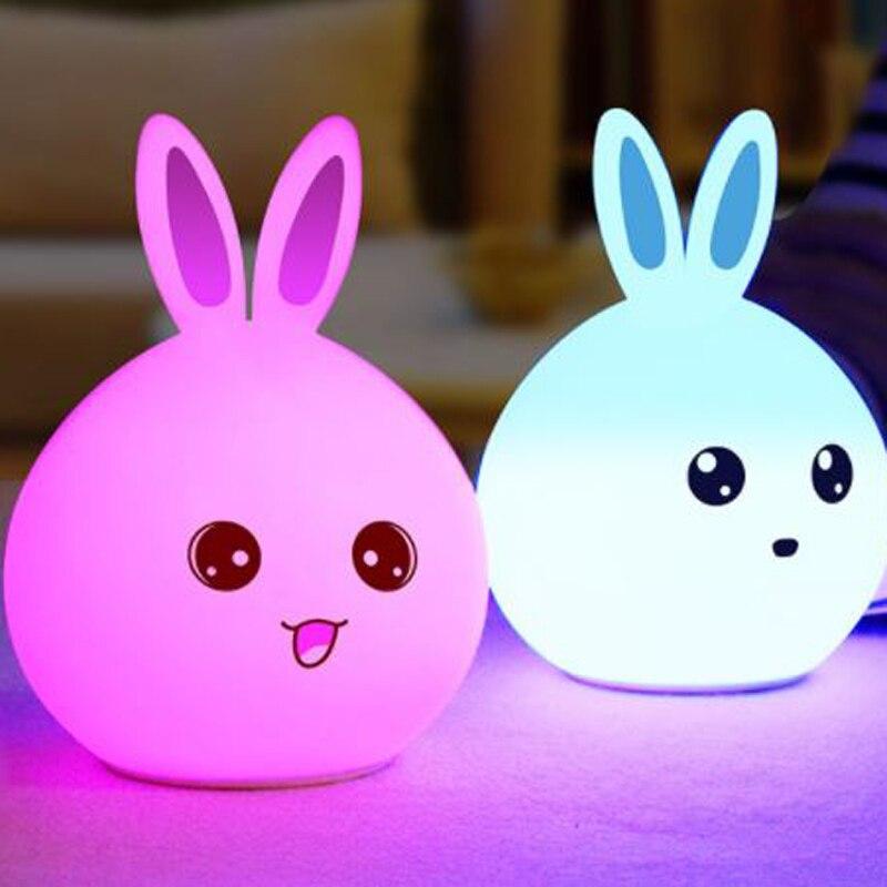 LED Night Lamp Energy Saving USB Recharging 5V Bedroom Touch Control Rabbit Baby Sleeping Eyes Protection Sensor Light