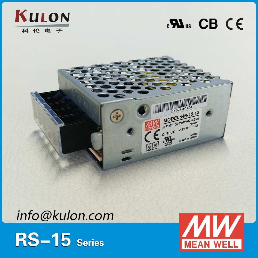 CB UL CE approved ac dc source MEAN WELL RS-15-5 15W 3A 5V Power Supply 85-264VAC 5VDC meanwell power supply miniature size nes 15 48 ac dc mini size 15w led power supply