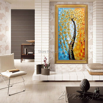 Oil painting On Canvas Wall Pictures Paintings For Entry Way Canvas Wall Art Palette Knife Hand Painted Golden Flower Tree D
