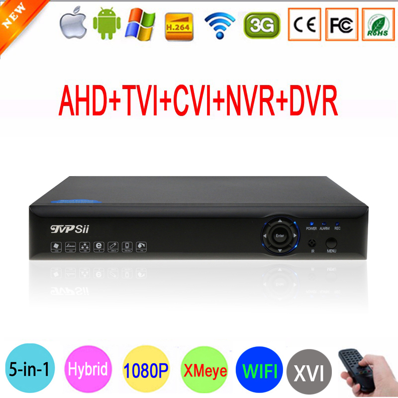 Blue-Ray Hi3521A 1080P Surveillance Camera 16 Channel 16CH 5 in 1 Wifi Hybrid Coaxial Onvif NVR CVI TVi AHD DVR Free shipping