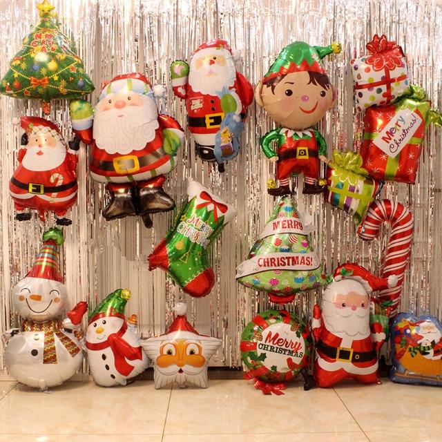 1 шт. воздушные шары из фольги Санта-Клауса с рождественским декором гелиевый надувной шар Санта-Клаус елка рождественский снеговик конфеты трость сани подарки